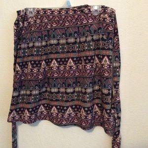 Alya USA skirt, floral elastic waist back tie